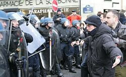 Students confront Police at the Sorbonne