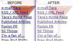 When Tara Met Blog, before and after